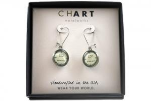 CHART Nantucket Longitude Latitude Dangling Earrings