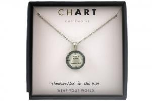 CHART Nantucket Longitude Latitude Medallion Necklace