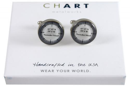 CHART Nantucket Longitude Latitude Medallion Cufflinks