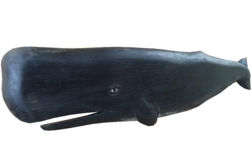 Carved Wooden Black Sperm Whale
