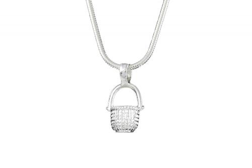 Silver-Plated Nantucket Basket Charm Necklace
