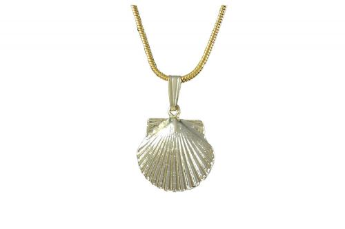 Gold-Plated Scallop Shell Charm Necklace