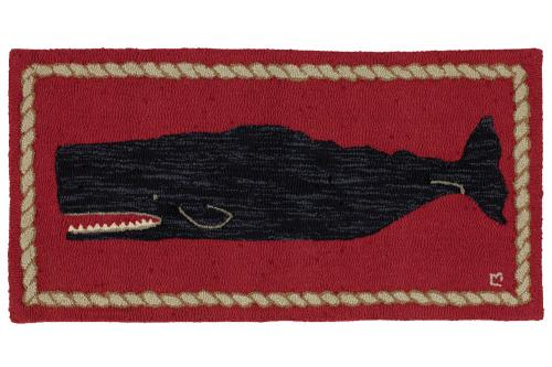 Black Whale Hooked Rug