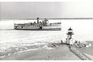 Steamship Nobska inbound through ice at Brant Point, circa 1940
