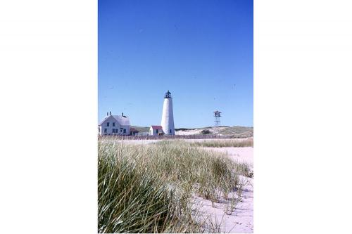 Great Point Lighthouse, keeper's house and observation tower, circa 1960