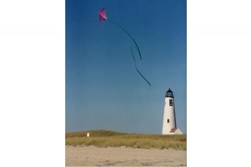Kite flying above Great Point Lighthouse.