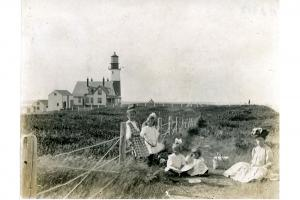 Picnic on the bluff near Sankaty Head lighthouse, circa 1900