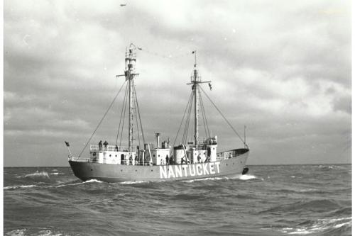 Lightship Nantucket on station, circa 1950