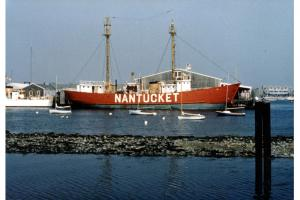 The lightship Nantucket docked at Steamboat Wharf, July 1977
