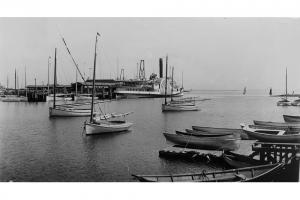 Steamboat Wharf as seen from Old North Wharf, circa 1890.