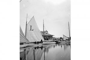South side of Steamboat Wharf with the catboat Lillian, circa 1900.