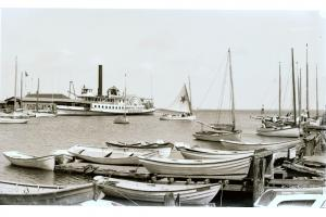 Steamboat Wharf from Old North Wharf, circa 1890.
