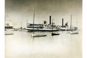 Steamships River Queen and Island Home at Steamboat Wharf, circa 1870.