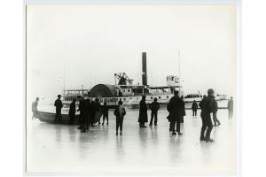 Steamship Island Home stuck in the ice, 1893.