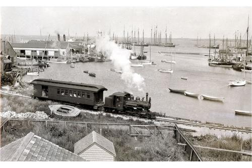 Nantucket Railroad, the train leaves for Siasconset, 1915