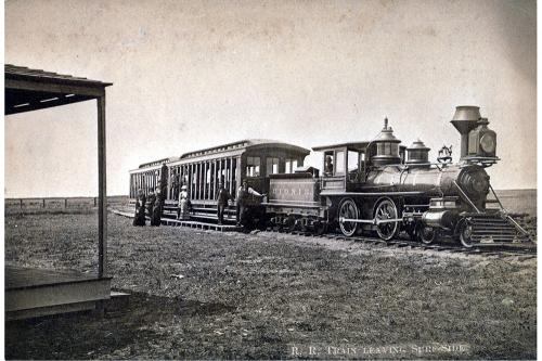 Nantucket Railroad, train leaving Surfside, circa 1890.
