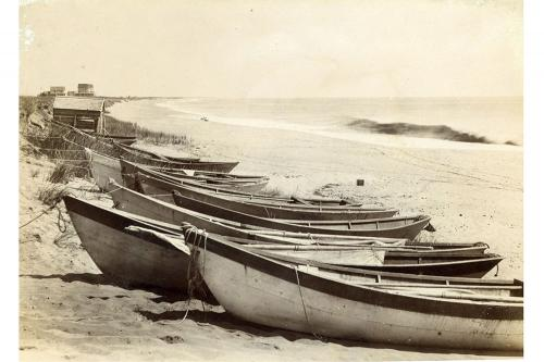Fishing dories on Nantucket's South Shore, circa 1900.