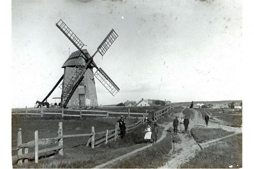 People near the Old Mill windmill., circa 1890.