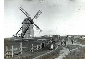 People near the Old Mill windmill., circa 1890.