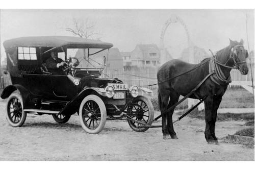 Clinton Folger's Horsemobile, Delivering Mail, circa 1910.
