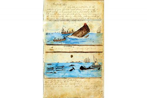 Illustrated page from the log of the whaleship Edward Cary.