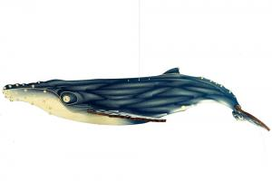 Humpback whale painted wood toy with white background