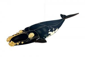 Right whale painted wood toy with white background