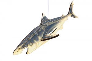 Great white shark painted wood toy with white background