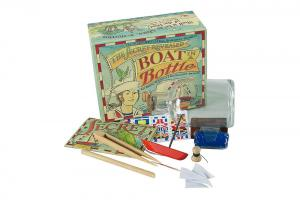 Boat in a bottle kit with white background