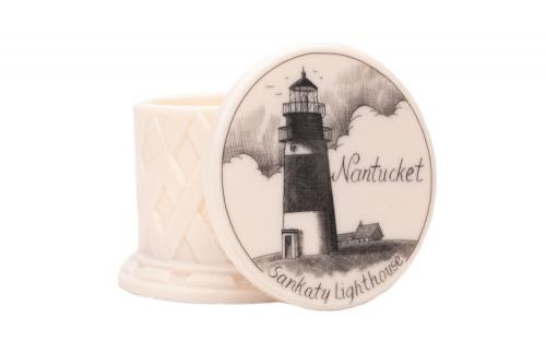 Sankaty Lighthouse scrimshaw holder white background