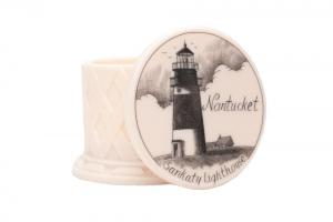 Sankaty Lighthouse scrimshaw holder white background