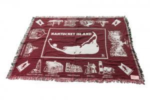 Nantucket Island red blanket on white background