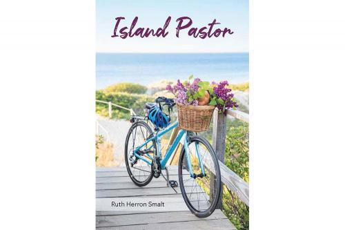 Book cover of Island Pastor featuring blue bicycle with purple flowers in basket and ocean in the background