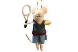 Tennis Player Felt Mouse Christmas Ornament