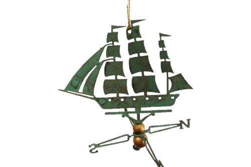 Clipper Ship Copper Christmas Ornament