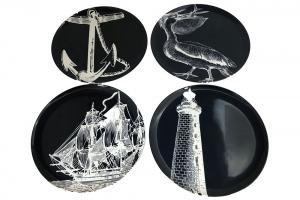 Bold Nautical Dinner Plate Set