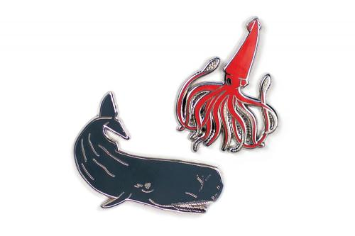 Sperm Whale and Squid Pins