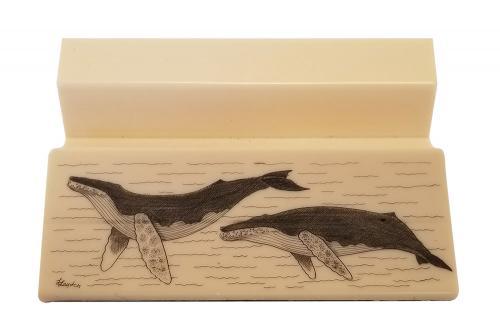 Humpback Whale scrimshaw designed by Linda Layden