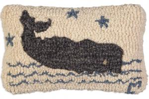 Grey Whale Hooked Wool Pillow