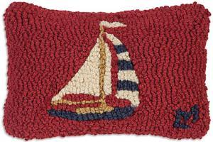 Sailboat Hooked Wool Pillow