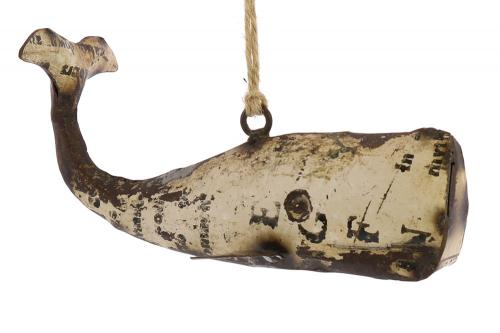 Reclaimed Metal Whale Ornament