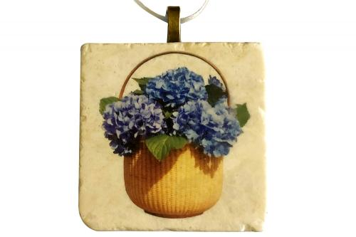 Lightship Basket Hydrangea Tile Ornament