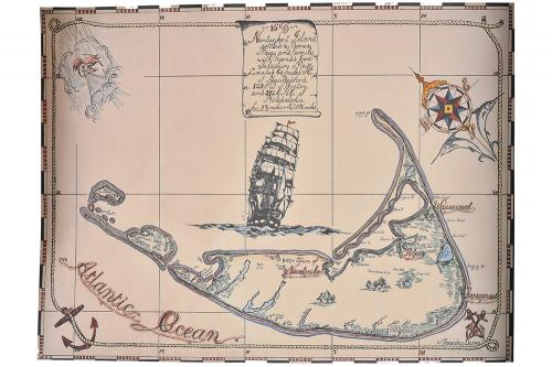 Alexander Dumas Map of Nantucket 1659 Print