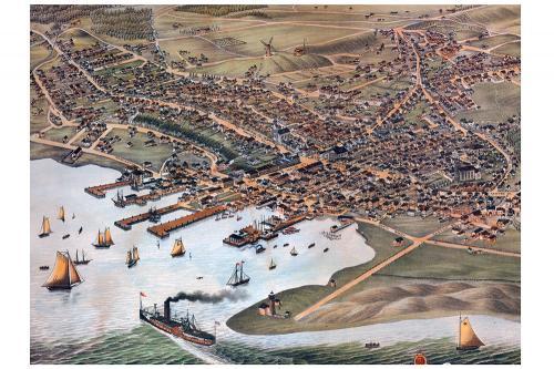Bird's Eye View of the Nantucket Town Print