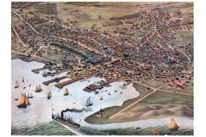 Bird's Eye View of the Nantucket Town Print